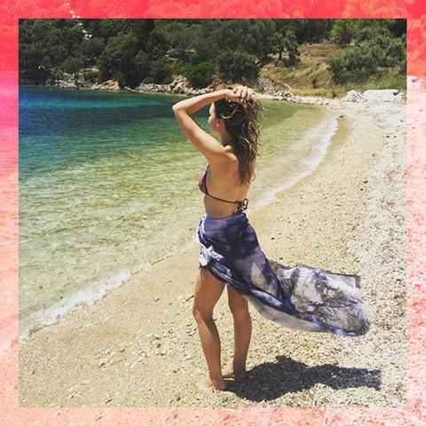 Buy beautiful big blue summer scarf & wrap with parisian style for beach & vacation
