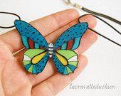 Farfalla collana di istruzione, arte da indossare di jewerly, blu verde farfalla, farfalla