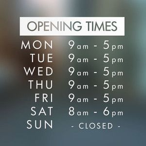 Opening Hours Times Shop Custom Vinyl Sign / Sticker | eBay