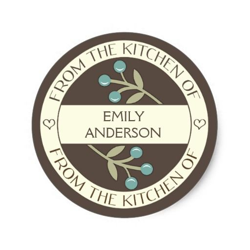 Berry Lovely From the Kitchen of Label | Brown Classic Round Sticker #food #stickers