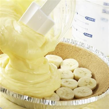 Best Banana Cream Pie recipe ever and super easy!  Use with a pre-made graham cracker crust!