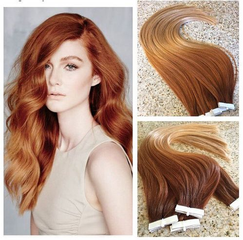 Hot Queen Ombre Color Human Hair Extension High Quality Brazilian Straight Skin Weft Hair Extension Copper Red Hair 100g/40pcs Tape In_Clip In Hair Extensions_Products_Ali Queen Hair,Virgin Hair Wholesale,Hair Extension Online Supplier.
