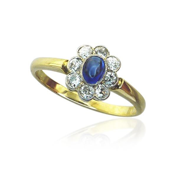Safir-Diamantring 14 kt. Gelbgold mit Saphir-Cabochon Wir kaufen verkaufen Ihren Schmuck, antike Juwelen, Edelsteine, Brillanten aus Privatbesitz / Erbschaft! Wir beraten Sie für eine optimale Verwertung. https://www.schmuck-boerse.com/index-gold-ringe-6.htm #Schmuck #Schmuck-Boerse #vintage #verlobung #diamant #verlobungsringe #ringe