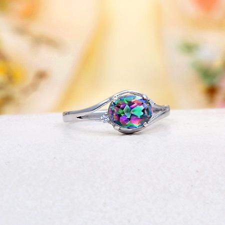Rainbow Mystic Topaz Ring