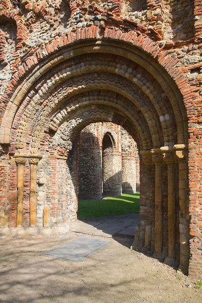 Elaborate Norman doorway of the west front of Saint Botolph's priory…