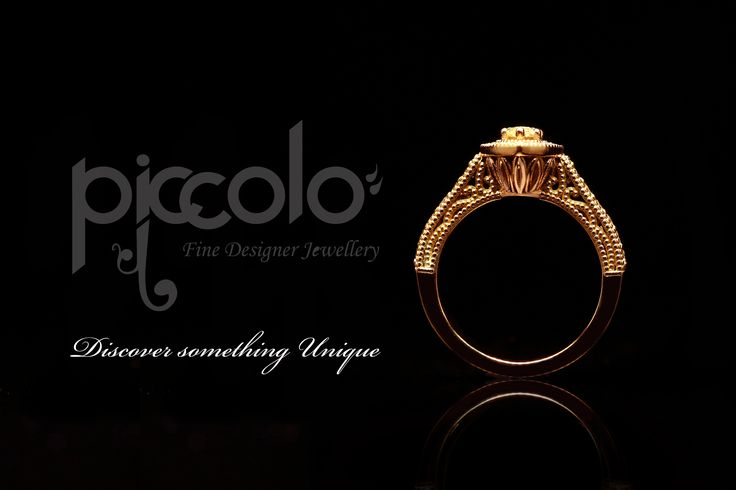 Manon | Set in Rose gold, this Cape-yellow diamond surrounded by a halo of diamonds, comes to its full brilliance  For a free consultation to design your unique ring, send us an email | info@piccolo-jewellery.co.za #rosegold #ring #jewellery #diamonds #marquisediamond #yellowdiamond