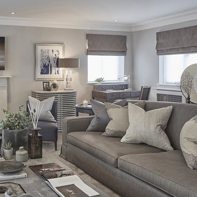 Grey blue and taupe in the rustic chic esher project for Grey living room inspiration