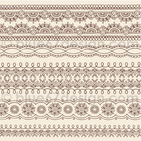 Intricate Henna Tattoo Doodle Edge Designs by Blue67Design by blue67design, via Flickr
