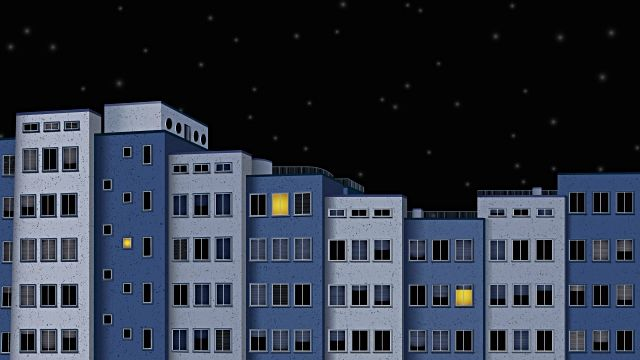 Time lapse animated cartoon of city buildings at night. HD ...