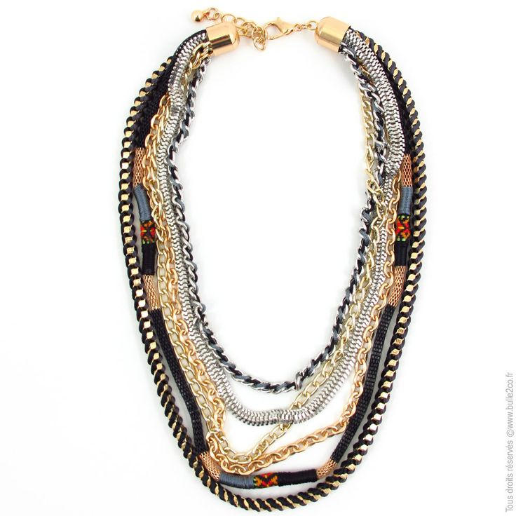 Bijoux Fantaisie Jewelry : Ensemble de colliers ethno chics noir bijoux fantaisie