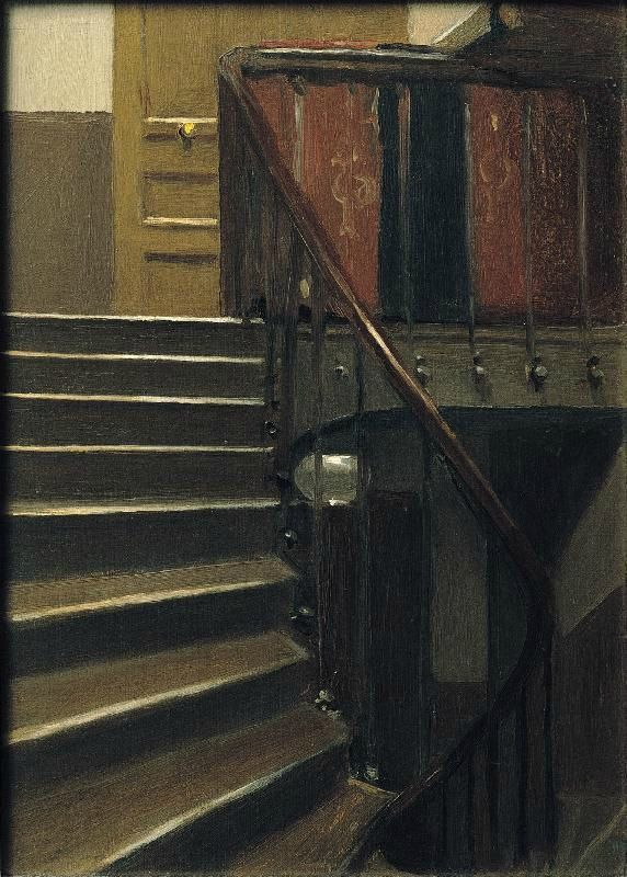 Edward Hopper (1882 1967), Stairway at 48 rue de Lille, Paris, 1906. Oil on wood, 32,7×23,7 cm. Whitney Museum of American Art, New York; Josephine N. Hopper Bequest © Heirs of Josephine N. Hopper, Licensed by Whitney Museum of American Art.
