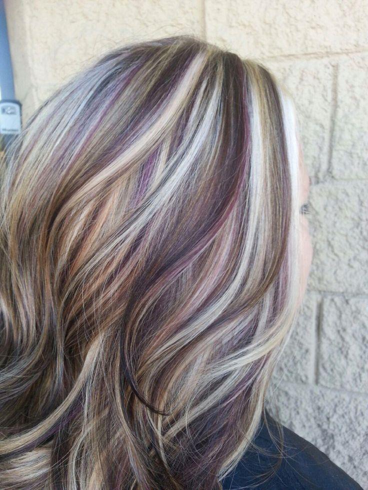 chocolate brown, purple lowlights in blonde hair - Google Search