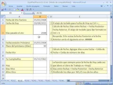 Excel Facil Truco #12: Calculos con fechas - YouTube. Bajar el libro de trabajo: http://www.excelfacil123.com.ar/  Excel! como calcular los dias entre 2 fechas como dias pasados del vencimiento de facturas. Como calcular la fecha de vencimiento de prestamos o cuantos dias estuviste vivo! Tambien aprende el metodo abreviado para el menu de formato! https://www.youtube.com/watch?v=NUrOrxnStzo