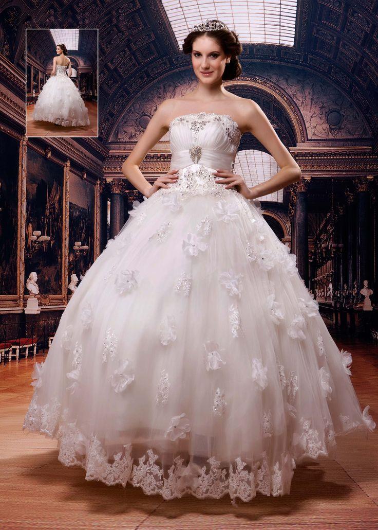 グラマラスなボールガウンストラップレスフロアレングスアップリケのウェディングドレス 8894339 - レース ウェディングドレス - Dresswe.Com