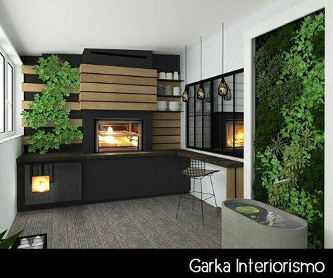 Proyecto de interiorismo, en este caso una terraza! Con chimenea y jardín vertical entre otros! :-)