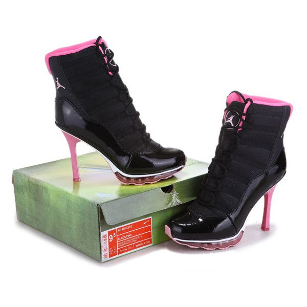 Womens Nike Air Max 2012 High Heel Shoes BlackPink WHX 002 ❤ liked