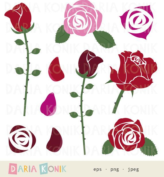 roses clip art set roses clipart flowers petals red