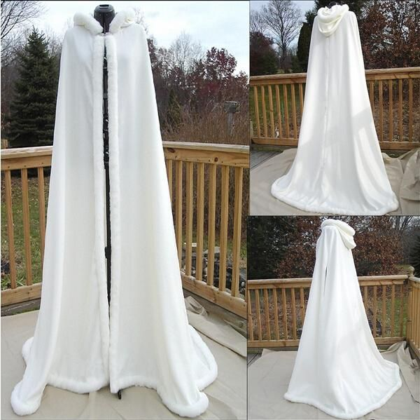 New Collection Custom Made Bridal Faux Fur Cloak Hooded