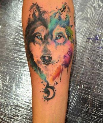 Increible Lobo y Luna en Acuarelas by Javi Wolf