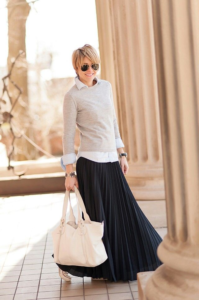Grey sweater white shirt black long skirt white maxi bag white sneakers