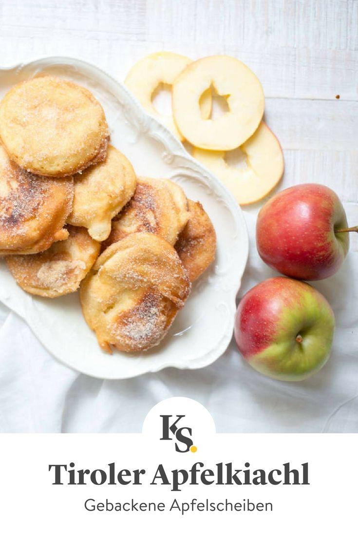 Das beliebte Tiroler Dessert besteht aus Apfelscheiben, die mit Teig ummantelt ausgebacken werden. Unser Rezept mit Schritt-für-Schritt-Anleitung zeigt dir genau, wie du sie zubereitest. #apfel #kiachl #fruchtig #tirol