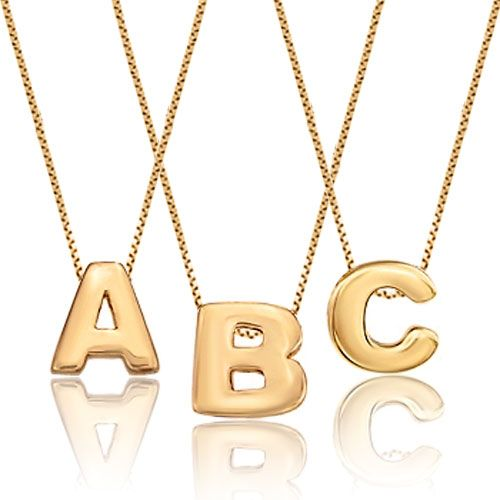 Gold Plated Three Single Initial Custom Made Any Letter Necklace Pendant Pugster.com