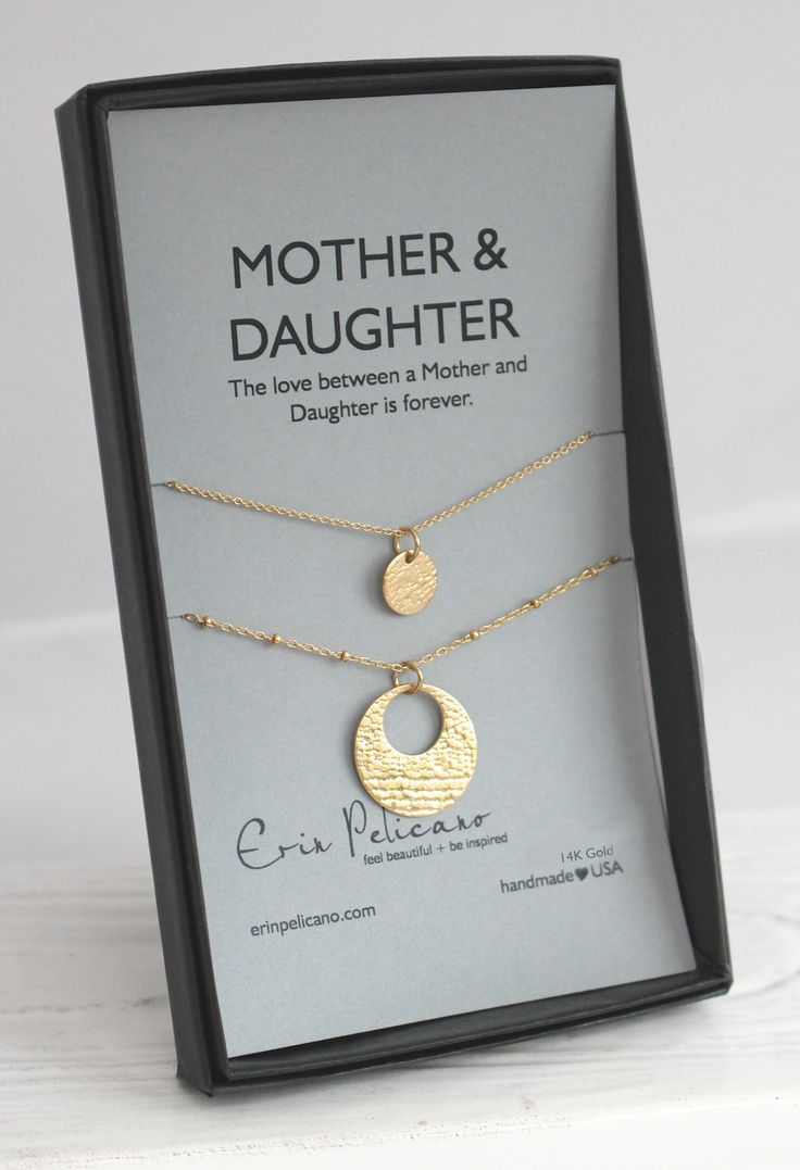 "14k gold, fine jewelry set for Mom and Daughter. This set of 2 Gold dipped mother daughter necklaces represents the lifelong bond between a mother and her daughter. 16"" or 18"" chains available."