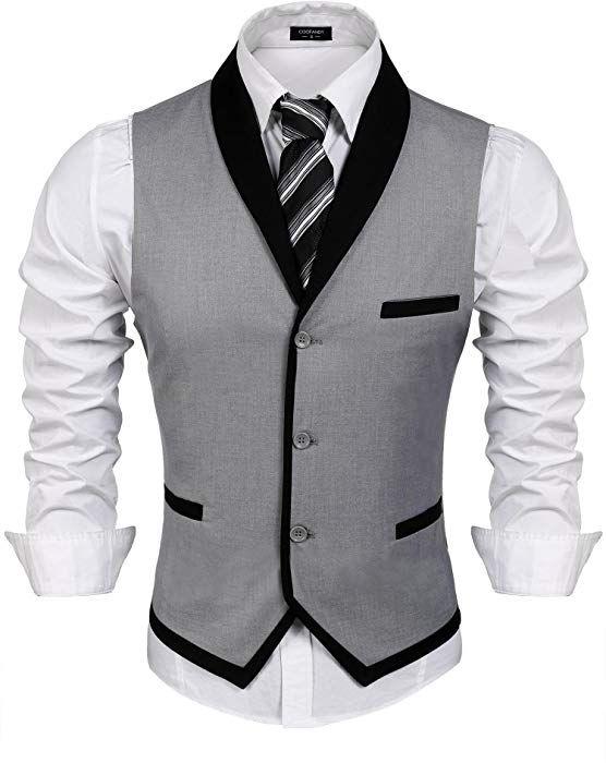 COOFANDY Gilet de Costume pour Homme Casual Mariage Business Veste sans  Manche - Gris - Taille Small  Amazon.fr  Vêtements et accessoires 6e36bc6f550d