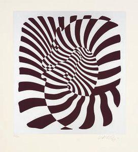 Zebras (silver) - (Victor Vasarely):