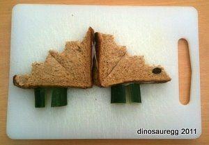 Stegosaurus Sandwich by DinosaurEgg: Food Recipes, For Kids, Sandwiches Cookies, Everyday Feeding, Dinosaurs Recipes, Lunches Boxes, Dinosaurs Food, Dinosaur Food, Dinosaurs Parties