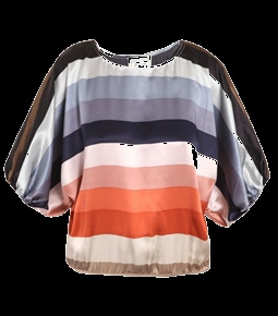 Silk Dolman-Sleeve Stripe Top by Beyond Vintage. This multi-coloured silk blouse has a horizontal-stripe print with a round-neck and an elasticated hem. The loose-fitting top has loose-fitting batwing half-sleeves with elasticated fitted cuffs. #Matchesfashion