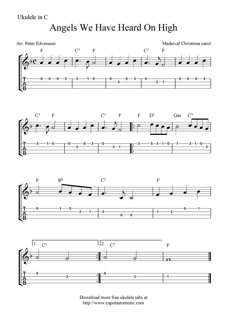 "✓""Angels We Have Heard On High"" Ukulele Sheet Music - Free Printable"