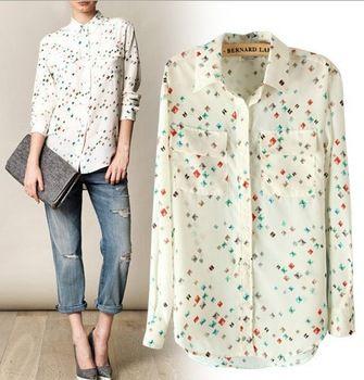 ST274 New womens' elegant vintage OL Diamond print blouse chiffion with pockets shirt casual shirt slim brand designer top