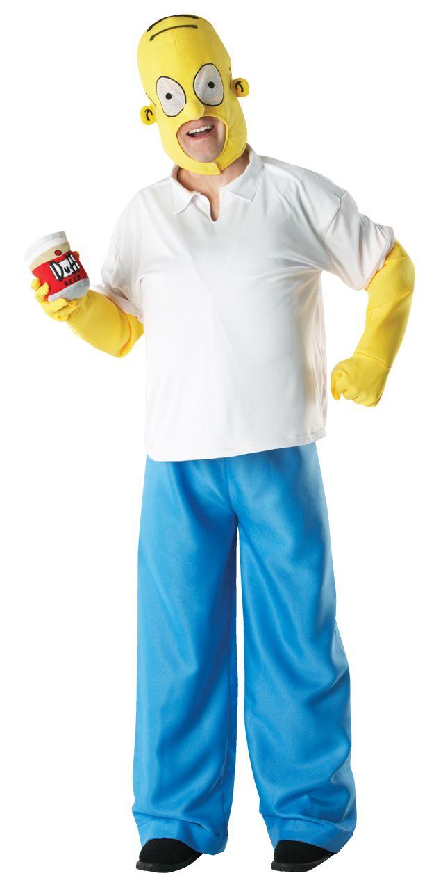 Homer Simpson Deluxe. Yläosa, housut, päähine ja Duff-kaljatölkki.
