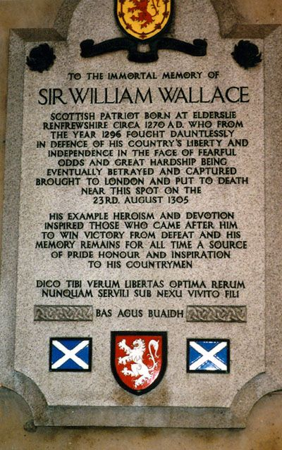 Memorial plaque near where William Wallace was executed.