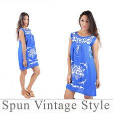 Mexican Oaxacan Style Hand-embroidered Sleeveless gauze Peasant Dress Denim blue