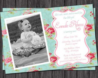 Floral Chic Birthday Invitation by PuggyPrints on Etsy