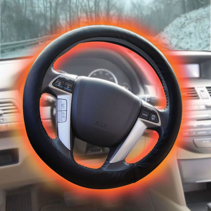 The Heated Steering Wheel Cover - This is the only heated steering wheel cover that completely encircles a wheel to keep hands warm during winter drives. #HammacherHolidays