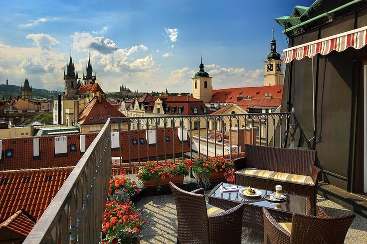 Grand Hotel Bohemia, Prague. Gorgeous views of the Old Town from our hotel balcony.