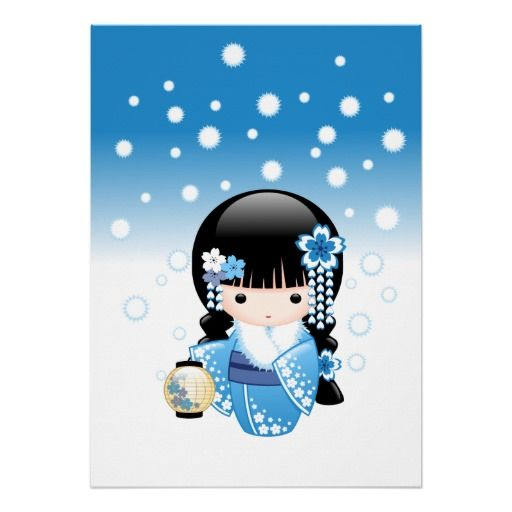 SOLD! Yet again to a customer in France. Winter Kokeshi Doll Print $19.70 #cute #kawaii #kokeshi
