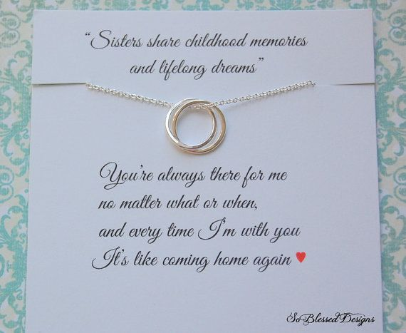SISTERS necklace, Gift for Sister, inspirational jewelry, Sister maid of honor, Bridesmaid, Birthday