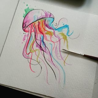 Watercolor jellyfish tattoo arm - photo#9