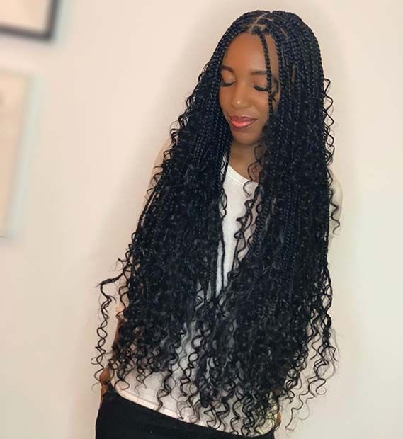 45 Trendy Goddess Box Braids Hairstyles Page 2 Of 4 Stayglam Braids With Curls Braided Hairdo Box Braids Hairstyles