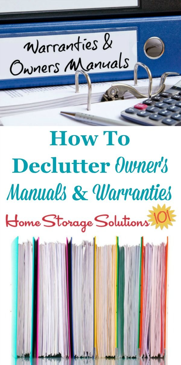 How to declutter owner's manuals and warranty documents, including what to keep versus to get rid of, and also tips for digitally organizing these manuals so you can get rid of even more paper clutter {on Home Storage Solutions 101}