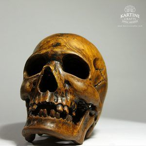 wood skull sculpture, woodart sclupture