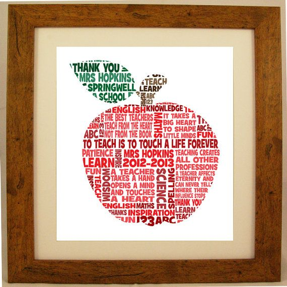 Personalized Teacher Appreciation Word Art Gift  #Apples < love this!