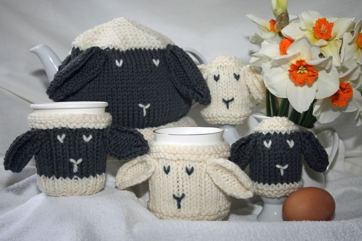 KNITTING PATTERN in pdf - Breakfast Cosies for Ewe! - Sheep themed Tea Cosy, Mug Cosy, Cup/Can Cosy and Egg Cosy by SleakeKnits on Etsy https://www.etsy.com/uk/listing/229519453/knitting-pattern-in-pdf-breakfast-cosies
