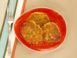 Skillet Corn Cakes by Kelsey Nixon Food Network  [4 servings or 8 corn cakes]  3 cups fresh or frozen corn off the cob  1 cup unsalted butter , softened  1/3 cup sugar  1 teaspoon salt  1 cup masa harina  1/4 cup flour  1 tablespoon unsalted butter, for greasing skillet.  Tomatillo Guacamole:  6 to 8 tomatillos, husked and coarsely chopped (about 8 ounces)  3/4 cup coarsely chopped fresh cilantro leaves  1 avocado, halved, pitted, peeled and diced  1/2 onion, coarsely chopped  1/2 jalapeno…