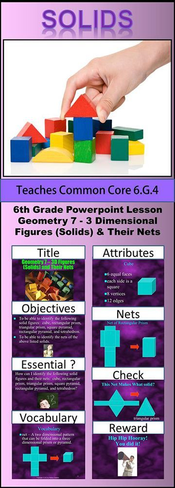 Sixth Grade Geometry 7 - 3D Figures (Solids) and Their Nets teaches students how to identify the following solids: cube, rectangular prism, triangular prism, tetrahedron, square pyramid, and rectangular pyramid. In addition, students learn to identify the nets of each one of these solids.  To see this product click Visit.