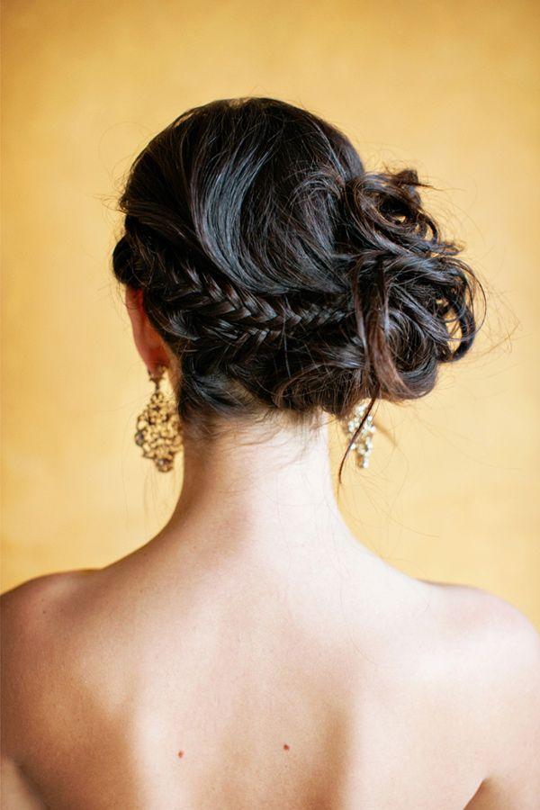 messy and elegant braided side bun